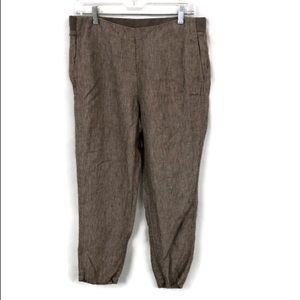 J JILL BROWN LINEN CROPPED PANTS M PETITE